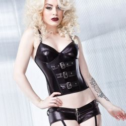 Wetlook bustier met push-up cups