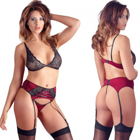 Rood-zwart lingerie setje