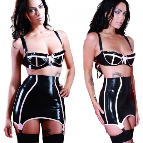 Latex girdle met roze bies