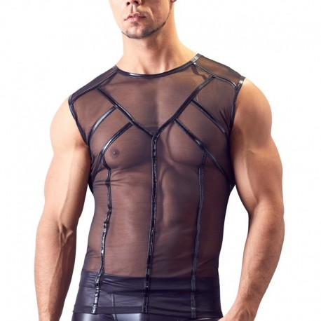 Mouwloos transparant shirt