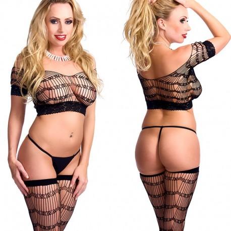 Zwarte driedelige lingerie set