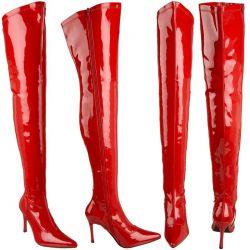 Glanzend rode dijhoge laarzen