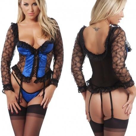 Blauw-zwarte corsage met slipje en nylons