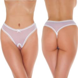 Witte transparante G-String ouvert
