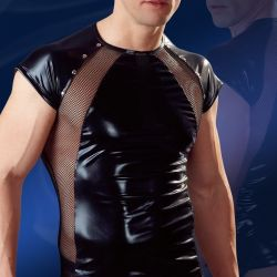 Wetlook shirt met powernetting