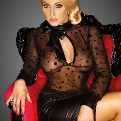 Transparante blouse met glanzende strik