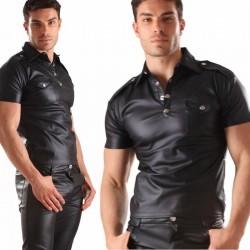 Imitatie lederen shirt met borstzakjes